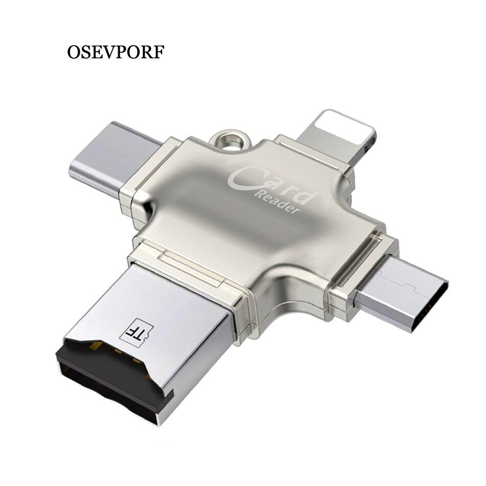 Portable SD Card Reader OTG Micro USB Type C Card Reader Lector SD Memory Card Reader For Micro SD TF USB Type-C OTG Cardreader