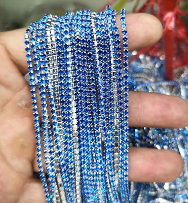 1 ярд/шт, 30 цветов, стеклянные хрустальные стразы на цепочке, Серебряное дно, Пришивные цепочки для рукоделия, украшения сумок для одежды - Цвет: Kaplan