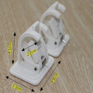 Image 5 - 1set Selbstklebende Vorhang Stangen halterung Weiß Aufhänger Querlatte Clips Wand Haken organizer schienen rack home storage