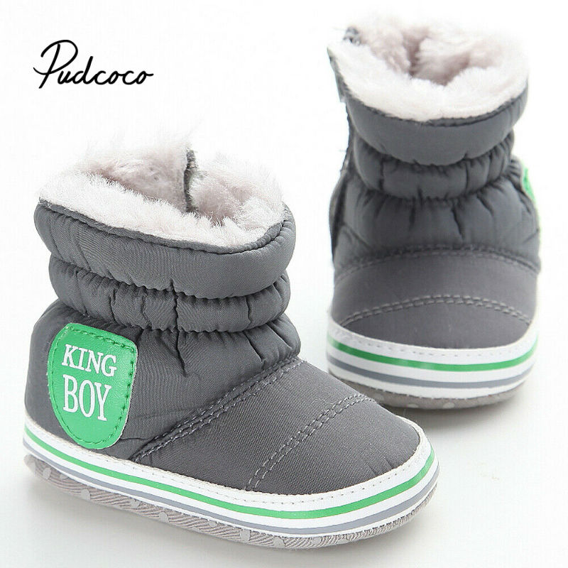 Pudcoco Winter Baby Boys Shoes Winter Infants Warm Shoes Faux Fur Girls Baby Booties Leather King Boys Pattern Boy Baby Boots