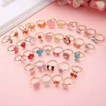 10 pçs bonito dos desenhos animados crianças anéis kawaii coreano crianças meninas flor liga dedo anel criança jóias presente ajustável anéis