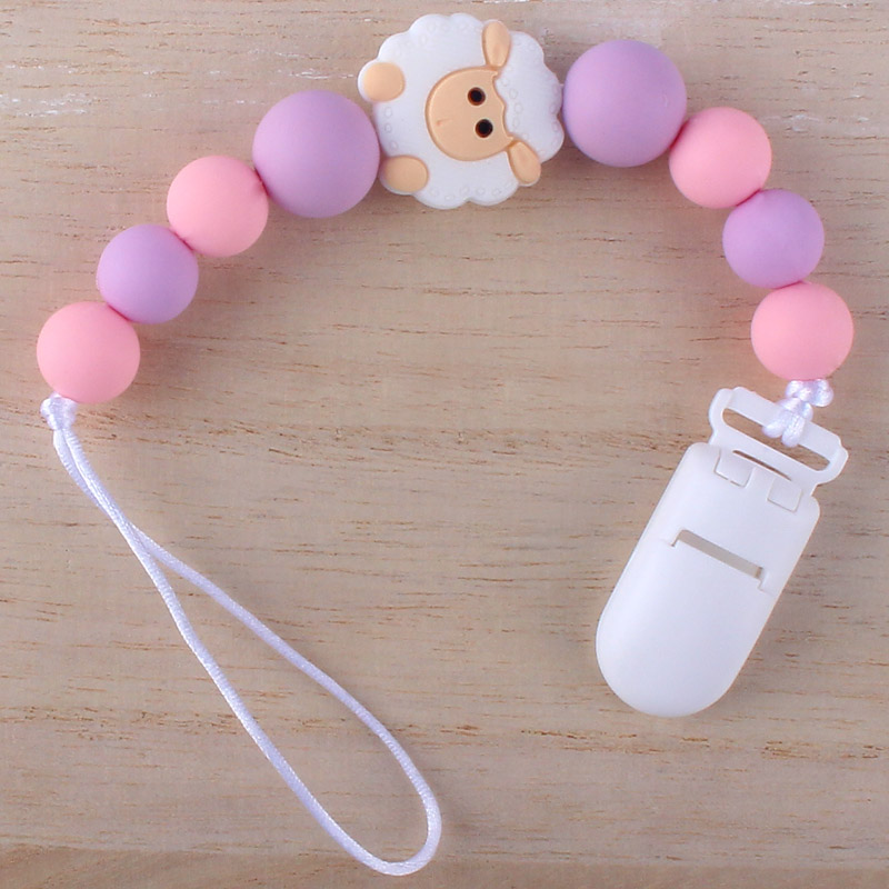 Cartoon Silicone Pendant Beaded Pacifier Clip Chains Baby Boy Girl Dummy Feeding Clip Soother Chain