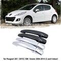 Черная автомобильная ручка из углеродного волокна или хромированная крышка дверных ручек из АБС-пластика для Peugeot 207 207SW SW CC 2006 ~ 2014, автомоби...