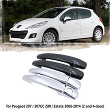 Preto alça do carro de fibra carbono ou abs chrome porta alças capa para peugeot 207 207sw cc 2006 ~ 2014 acessórios do carro tampa estilo