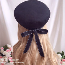Girl Heart Sweet Soft Sister Bowknot Ribbon Navy Wind Beret Joker Blue White Hat Cosplay Performance Handwork Hair Ornaments(China)