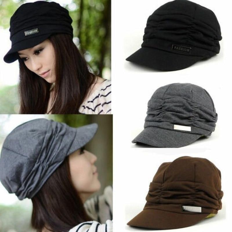 Women's Plain Knitted Jersey Beanie Visor Hat Ski Winter Warm Sketch Basic Caps