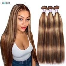Allove выделить пряди эффектом деграде (переход от темного к прямые пряди 1B 30 перуанские коричневый Цветной человеческие волосы пряди 1B 99J борд...