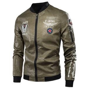 Image 2 - 男性秋の新カジュアルオートバイヴィンテージレザージャケットコート男性ファッションバイカー米軍爆撃機刺繍 pu レザージャケット男性