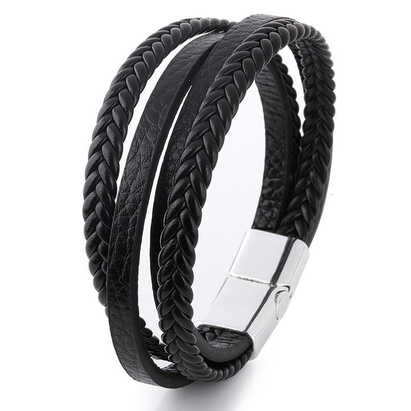 Мужской браслет, многослойный кожаный браслет с магнитной застежкой, Воловья кожа, плетеный многослойный браслет, модный браслет на руку, pulsera hombre - Окраска металла: 2