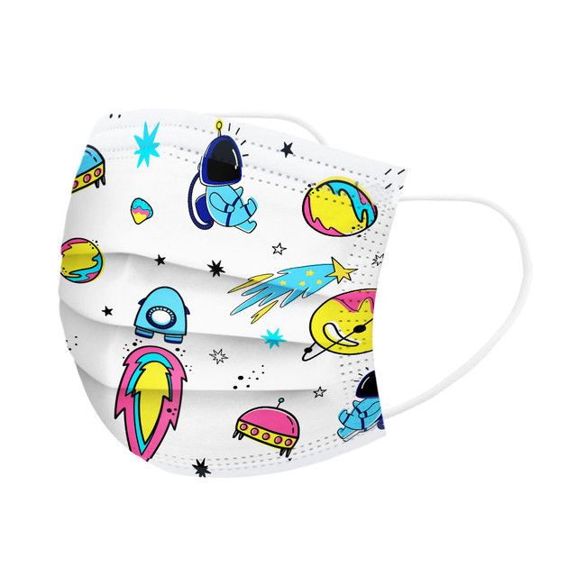 50pcmask Children Kids 3-8 Years Old Mouth Mask Disposable Print Face Mask 3ply Ear Loop Mouth Cover Face Shiled Mask Mascara #z 4