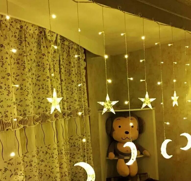LED Moon Curtain Light Icicle Light LED Pentagram Christmas Day Lantern Decoration Lights