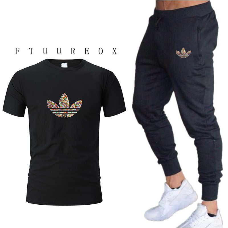 Kebugaran Pria Gym Pakaian Fashion Percetakan Baju Olahraga Pria Olahraga Setelan Pakaian untuk Mens Jogging Cocok Berjalan Set M-XXL
