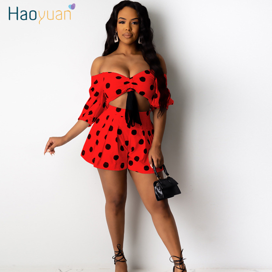 HAOYUAN Sexy Dot Two Piece Set Women Rave Festival Clothing Off Shoulder Crop Top Shorts Suit 2 Piece Club Outfits Matching Sets