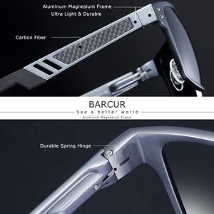 Image 2 - BARCUR Trending Styles Aluminium Magnesium Glass Square Men Sunglasses Polarized Sun glasses for Men Sport Eyewear Oculos de sol