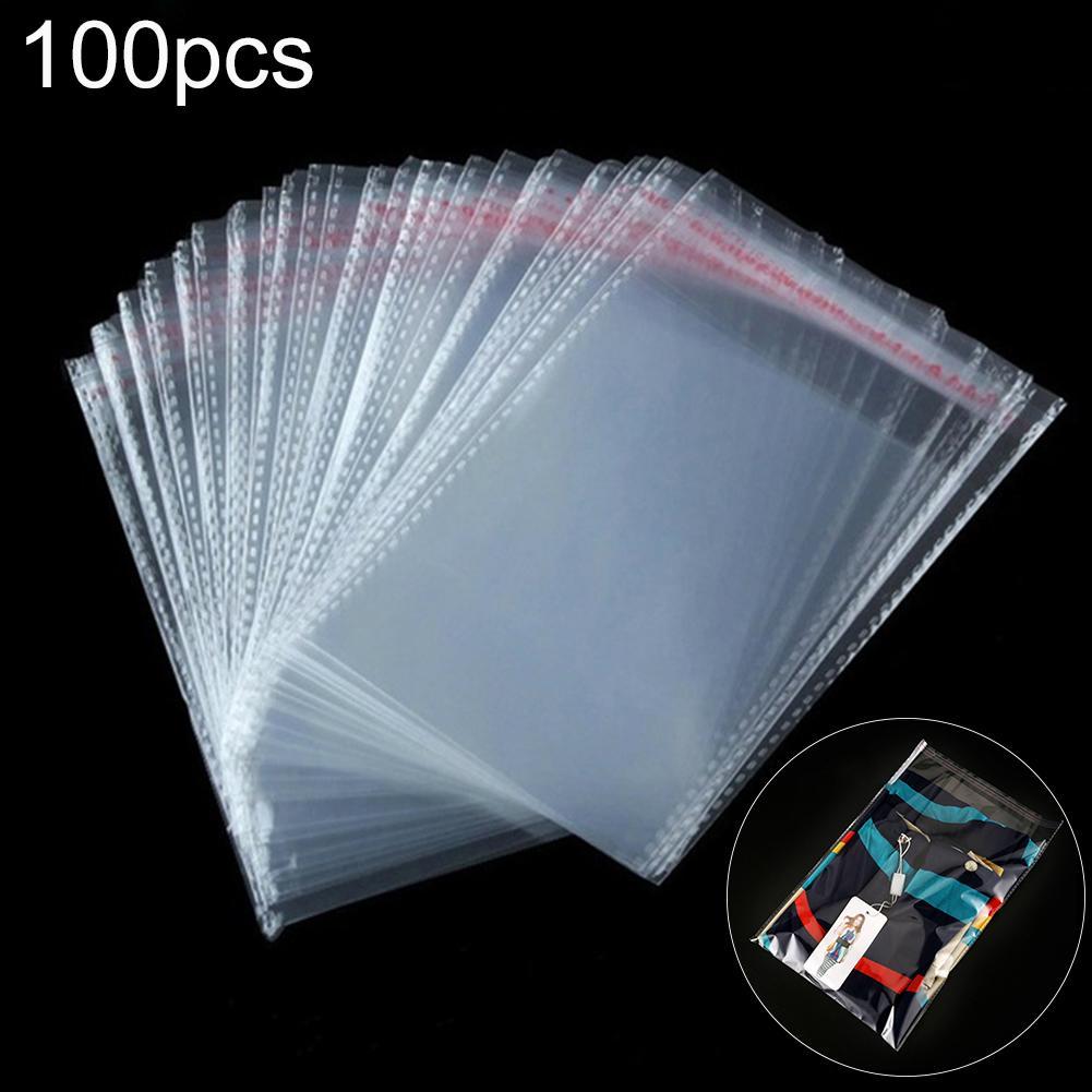 100 шт прозрачные самоклеющиеся герметичные пластиковые пакеты прозрачный пластиковый пакет самоклеющиеся герметичные ювелирные изделия у...