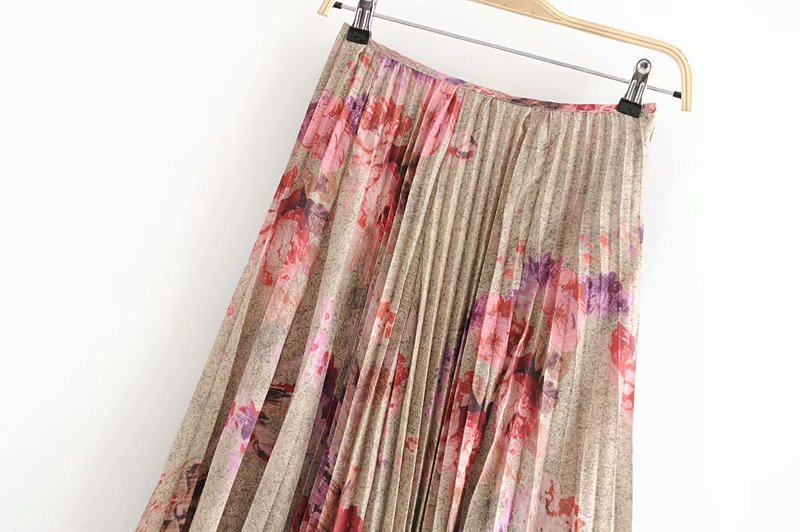 Autumn And Winter New Style Europe And America WOMEN'S Dress-Style Retro Flower Printed Pleated Skirt Long Skirts S5832