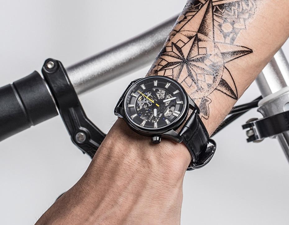 couro quartzo relógio de pulso de couro