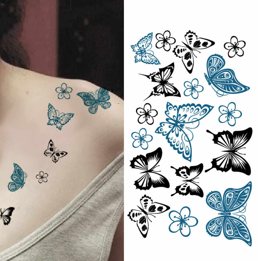 Temporary Tattoo Stickers Body Art Waterproof Butterfly Cute Sticker Paper Colorful Clavicle Body Back Hand Print Arm Solid Easy