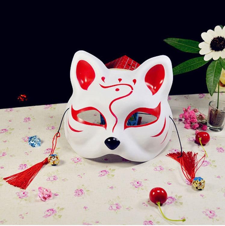 Japanese Fox Masks Full Face Hand-painted Style PVC Fox Cat Mask Cosplay Masquerade Festival Ball Kabuki Kitsune Cosplay Costume