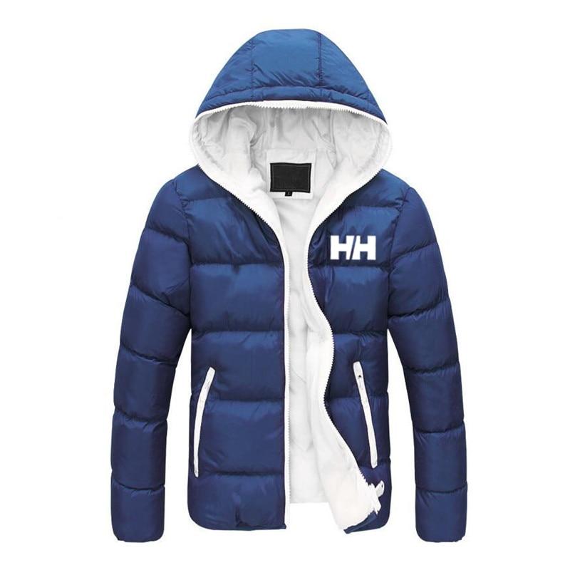 2019 Novos Homens de Algodão Com Capuz Moda Inverno Engrosse Jaquetas HH Casaco   Parkas   Moda Masculina Masculino Sólida Cores Tam
