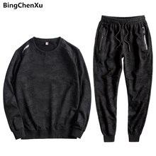 Erkek kazak eşofman Mens 2 parça setleri kazak + pantolon 2019 rahat erkek spor Jogger en Sweatpants seti artı boyutu 10XL
