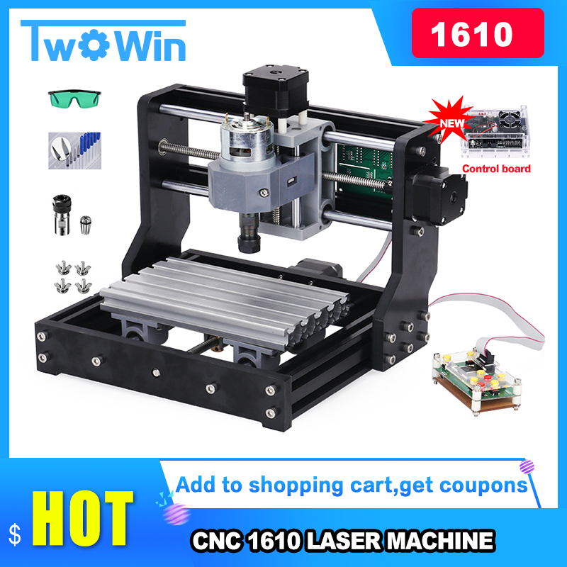 CNC Rounter DIY 1610pro Mini CNC Machine+ 500mw Laser ,working Area 16*10*4.5cm, 3 Axis PCB Milling Machine With GRBL Control