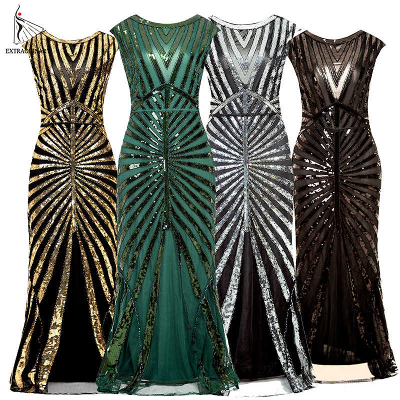 Women Long Dresses Flapper Vintage Great Gatsby Sequin 1920s Party Art Deco Sleeveless Midi Embellished O-Neck Summer
