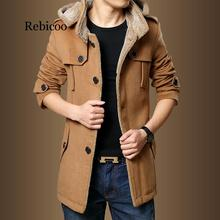 Trench Coats Men 2019 Winter Fashion Men Thick Jackets Fleece Slim Fit Hooded Trench Coat Long Casual Jackets Men Plus Size rubilove brand new men s casual trench coat wind breaker fashion designer plus size casual trench for men pull homme outwear