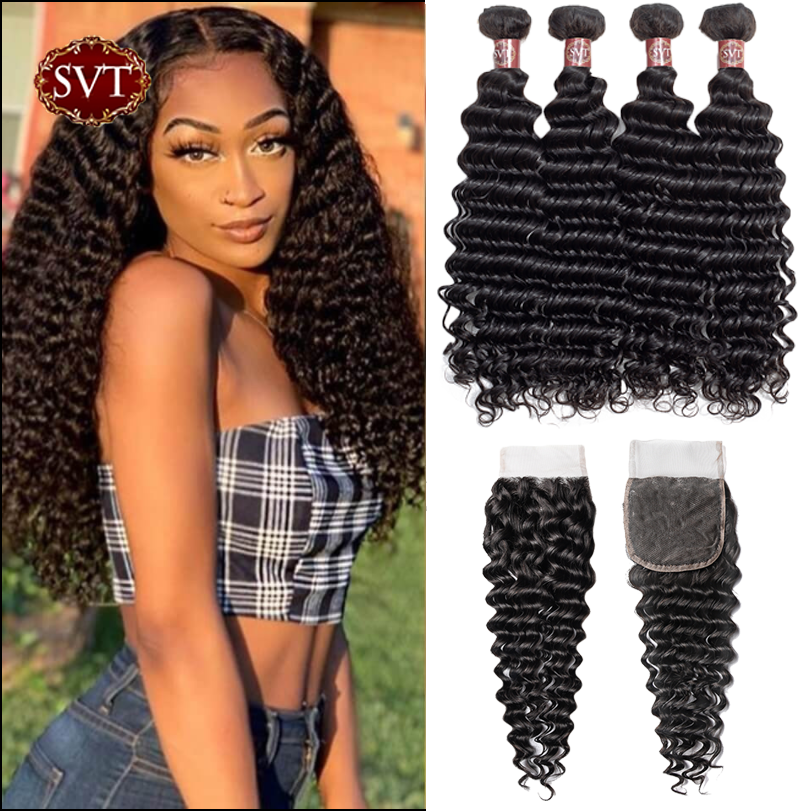 SVT Hair Deep Wave Bundles With Closure 4Pcs/Lot 8-26
