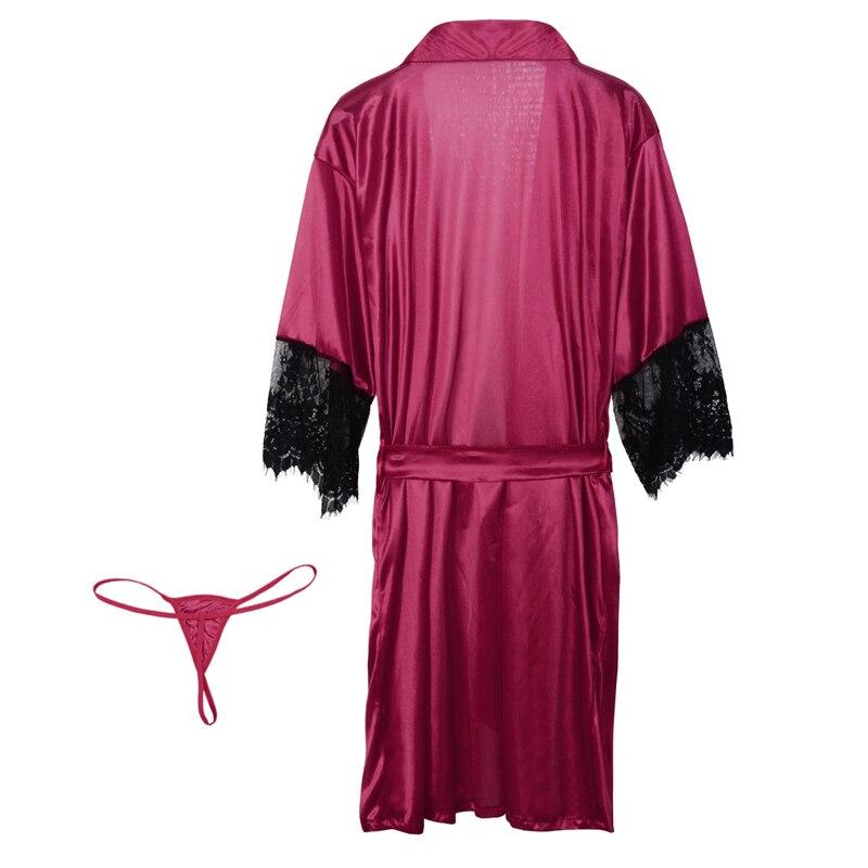 2020 Новинка размера плюс женская ночная одежда халат Женское повседневное Прозрачное кимоно Интимная одежда для сна модное кружевное лоскутное платье 3XL