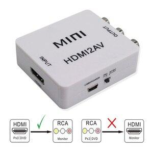 Image 1 - HDMI ל AV ממיר Scaler מתאם מרוכבים ממיר תיבת כדי RCA AV/CVSB L/R וידאו HD 1080P מיני HDMI2AV תמיכה NTSC PAL