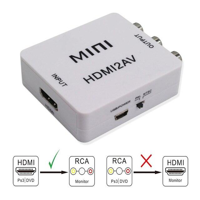 HDMI ל AV ממיר Scaler מתאם מרוכבים ממיר תיבת כדי RCA AV/CVSB L/R וידאו HD 1080P מיני HDMI2AV תמיכה NTSC PAL