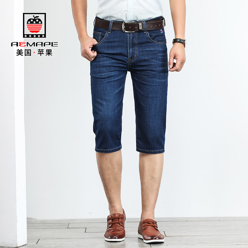 US IPhone Summer Hot Sales New Style Capri Jeans Men's Straight-Cut Business Thin Elasticity Middle-aged Casual Pants