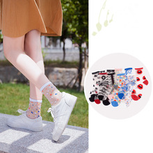 1Pair New Hot Sale Transparent Thin Women Silk Crystal Ankle Socks Cute Streetwear Spring&Summer Colorful Dot Wave Lace