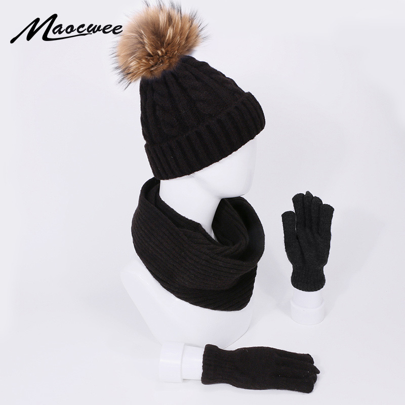 New Fashion Scarf Real Fur Pompon Beanie Hat Gloves Set Three-Piece Winter Autumn Outdoor Warm Hats Scarves Gloves Set For Femal
