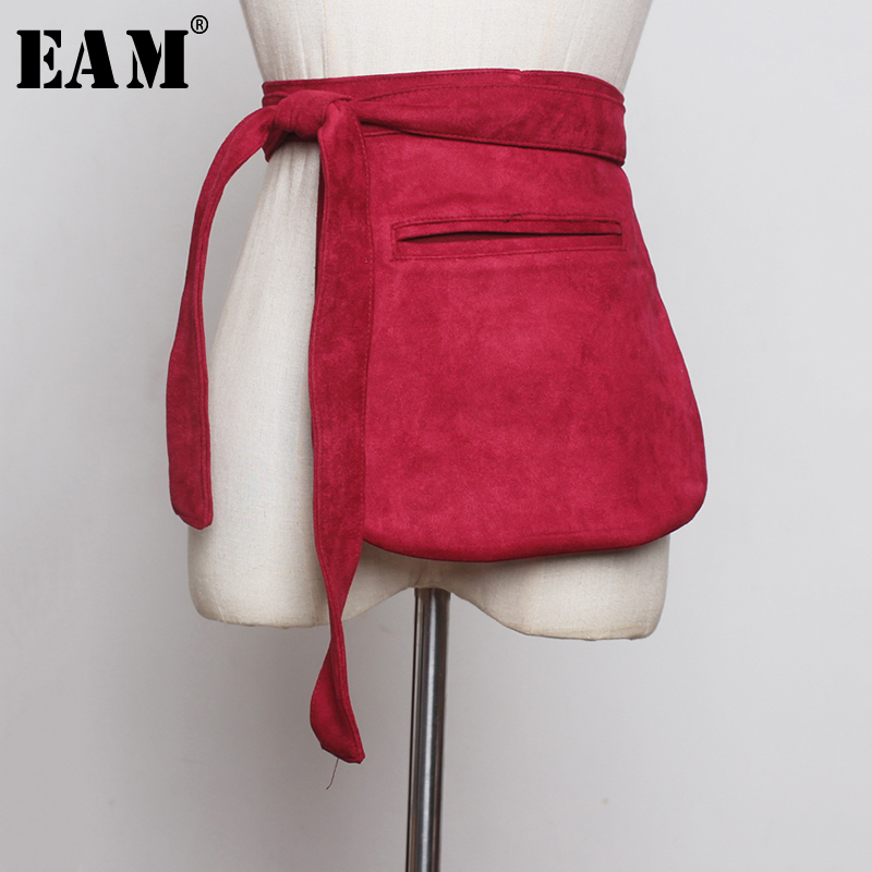 [EAM]  Bandage Mini-bag Velvet Long Belt Accessories Personality Women New Fashion Tide All-match Spring Autumn 2020 1B372