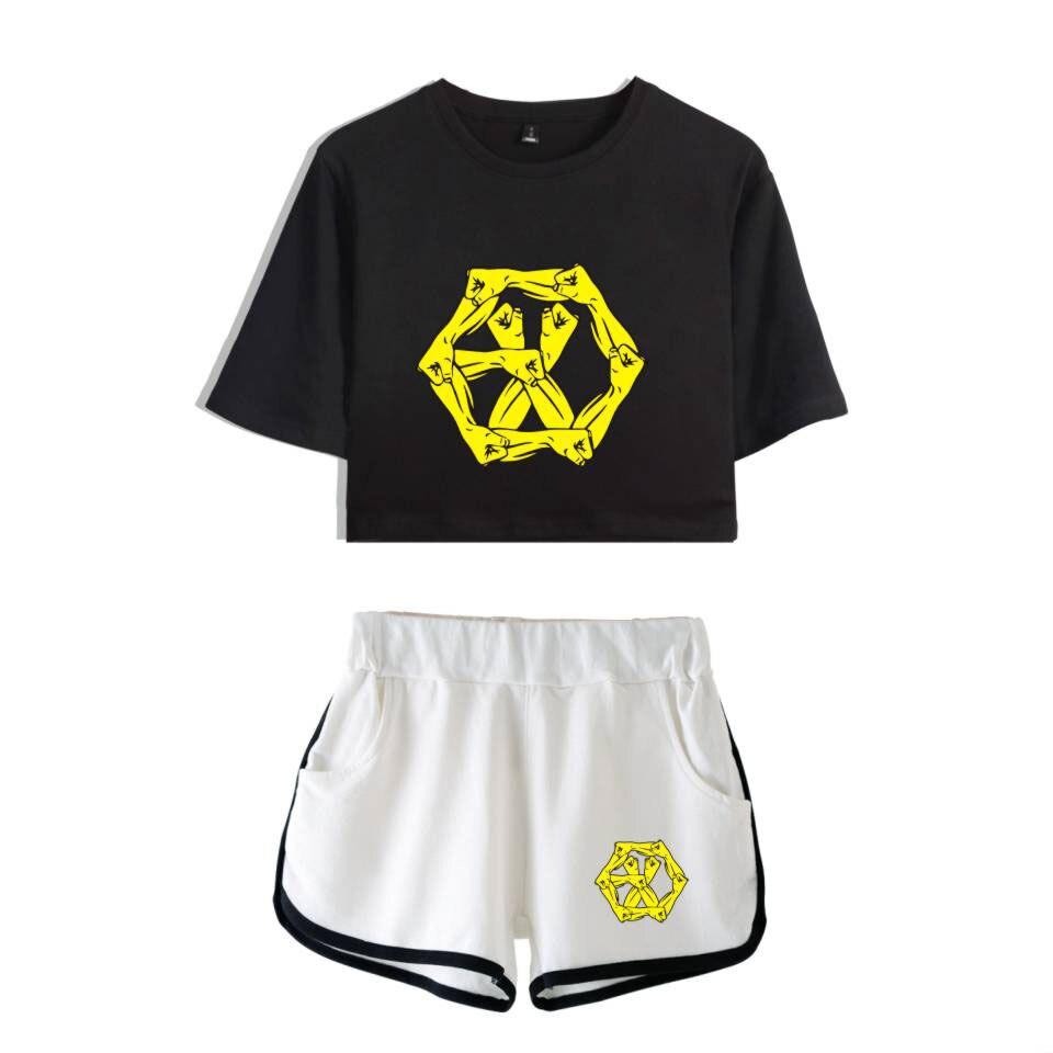 EXO amour shot femmes ensembles à manches courtes T-shirt et pantalons courts 2019 vêtements dété mode deux pièces ensemble femmes Harajuku tenues