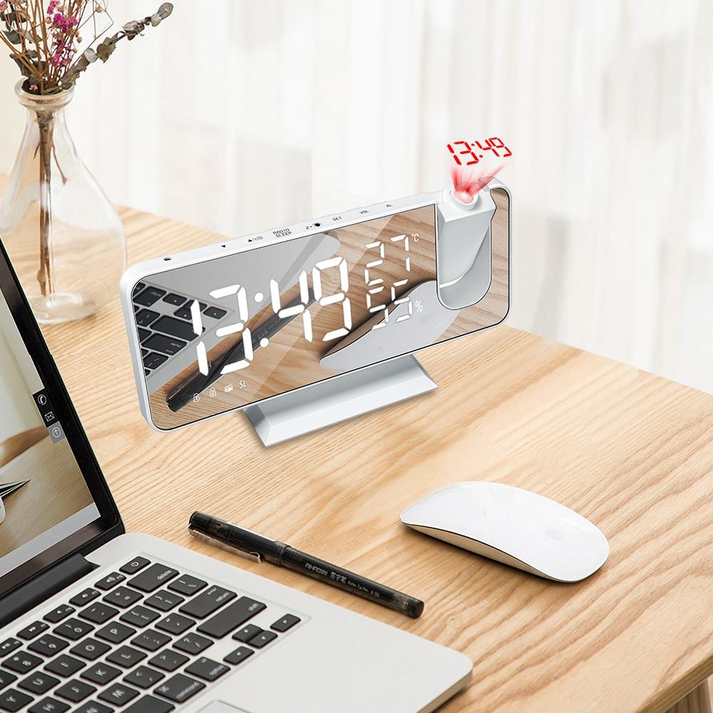 FM Radio LED numérique intelligent réveil montre Table électronique horloges de bureau USB réveil avec heure de projection Snooze