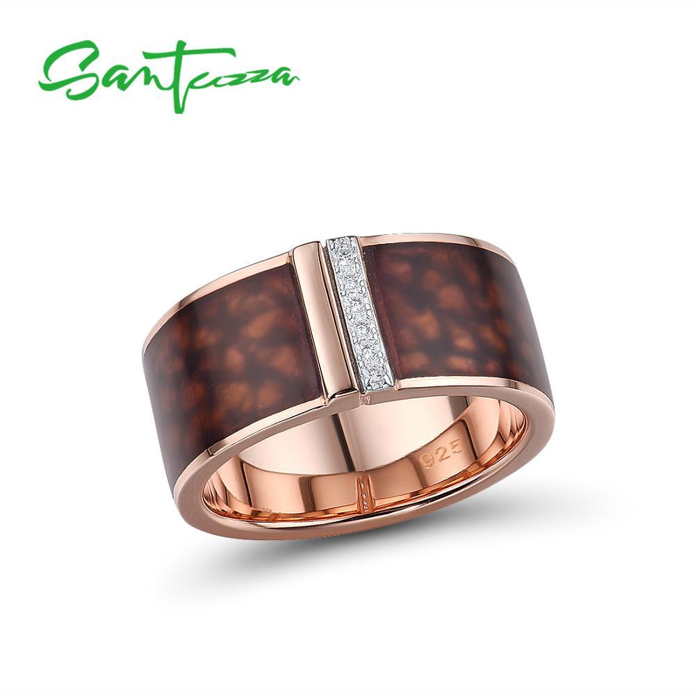 SANTUZZA Silver Rings For Women Pure 925 Sterling Silver Brown Round Shine Cubic Zirconia Trendy Fine Jewelry Handmade Enamel