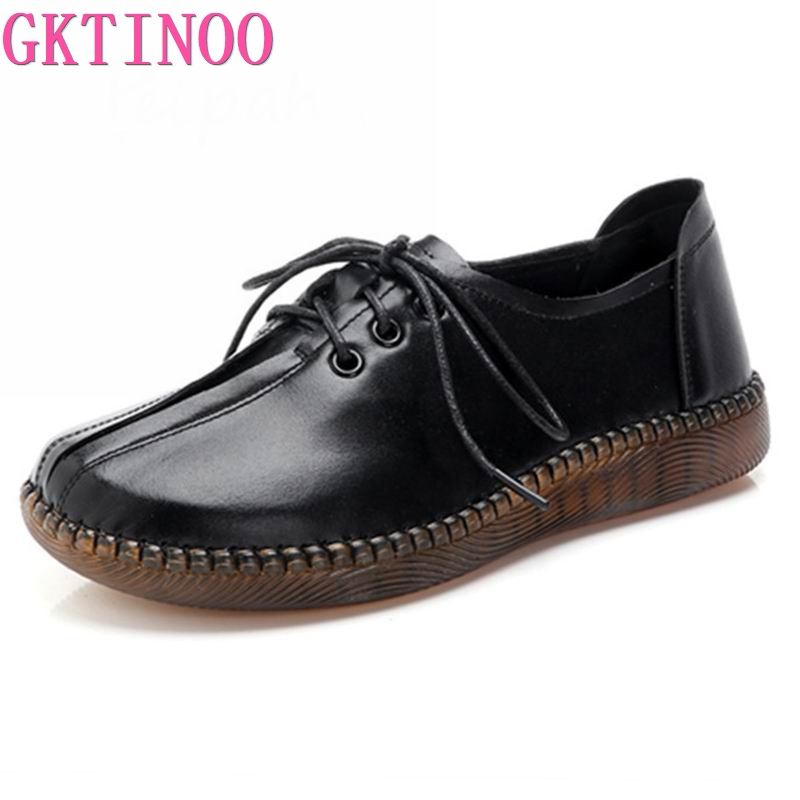 GKTINOO 2020 Spring Autumn Handmade Genuine Leather Flat Casual Shoes Woman Low Heel 2.5cm Soft Bottom Lace Up Female Shoes FlatWomens Flats   -