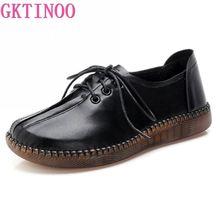 GKTINOO 2020 ilkbahar sonbahar el yapımı hakiki deri düz rahat ayakkabılar kadın düşük topuk 2.5cm yumuşak alt dantel kadar kadın ayakkabısı düz