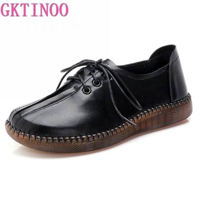Gktinoo 2020 봄 가을 손수 만든 정품 가죽 플랫 캐주얼 신발 여성 낮은 굽 2.5cm 소프트 하단 레이스 업 여성 신발 플랫