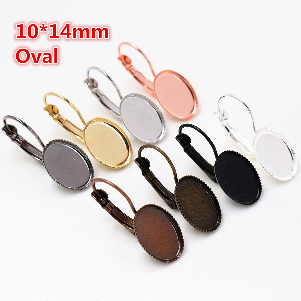 10x14mm 10pcs/lots 8 Colors Plated French Lever Back Earrings Blank/Base,Fit 10*14mm Oval Glass Cabochons