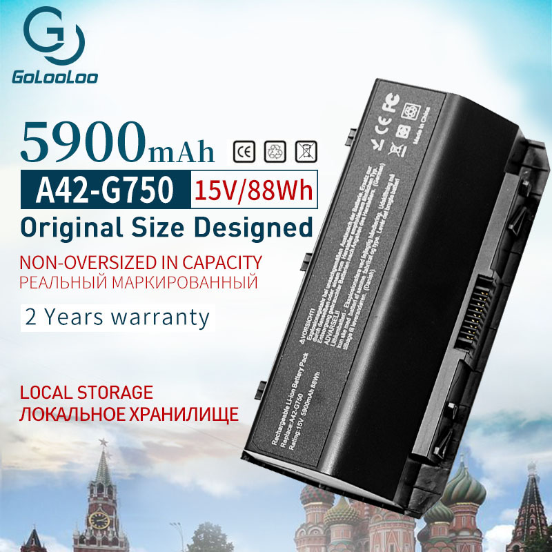 Golooloo 15V 88WH 8Cell A42-G750 Battery For ASUS ROG G750 G750J G750JH G750JM G750JS G750JW G750JX G750JZ Series 5900mAh