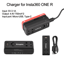 Charger for Insta360 ONE R Panoramic Camera Lithium Battery Base Charger Dual Input Fast Charge Hub Smart Charger Accessories