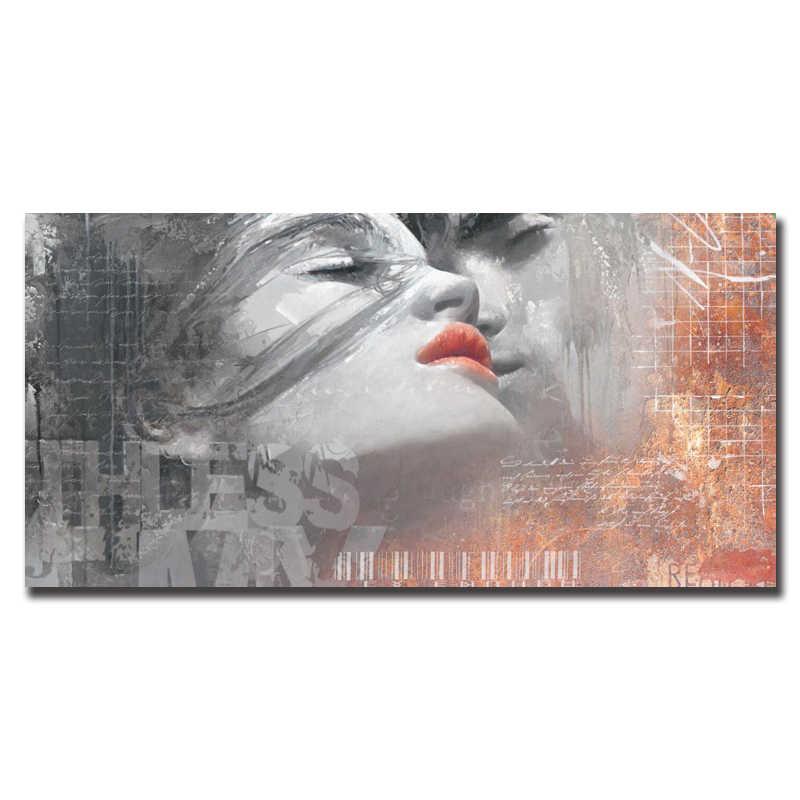 OUCAG Astratta Amante Bacio di Arte Della Parete Della Tela di Canapa Pittura Moderna Senza Telaio Poster E Stampe Decorativo per la Decorazione Soggiorno