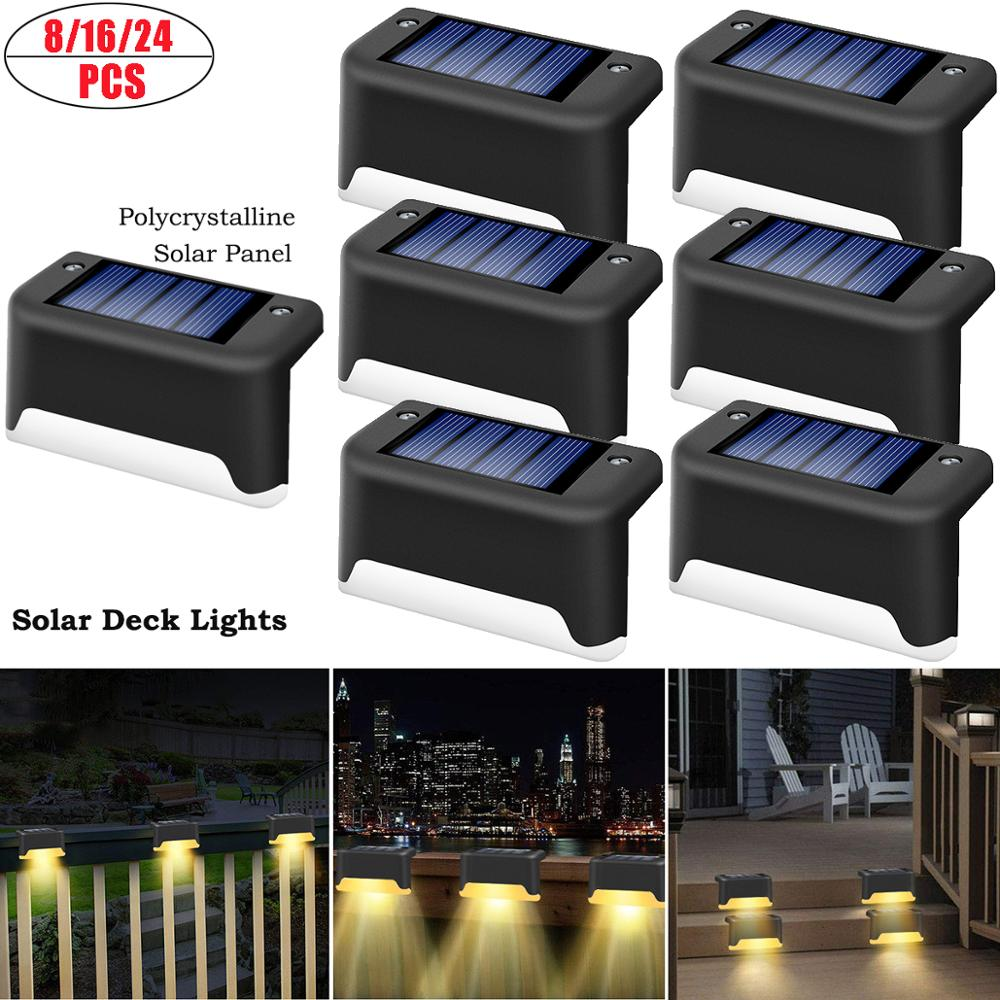 LED Solar Lights Path Stair Outdoor Light Step Lamp Garden Yard Fence Wall Landscape Lamp Solar Light Outdoor Nightlight