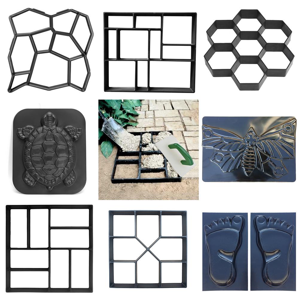 Concrete Molds Path Maker Mold DIY Reusable Concrete Paving Mold Cement Brick Mold Stone Garden Floor Road Pave Scraper Trowel