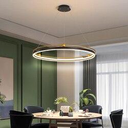 Modern Led Chandelier Circle Ring For Dining Kitchen Interior Industrial Design Hanging Light Black Gold Decoration Pendant Lamp