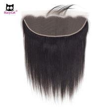 Rucycat fechamento do cabelo humano 13x4 fechamento fronal do laço cabelo brasileiro remy frontal em linha reta qualidade superior 8-22 Polegada frontal do laço
